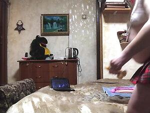 Schoolgirl ass to mouth dildo play