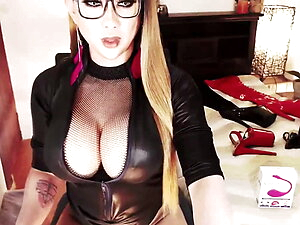 Busty Shemale Jacking off her Twelve Inch Cock