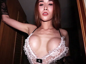 Big tits ladyboy maid Alice cleans a big cock with her holes