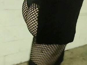 Sexy trans booty in mesh leggings visible thong