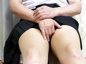 MtF Crossdresser Masturbates with Schoolgirl's Unform
