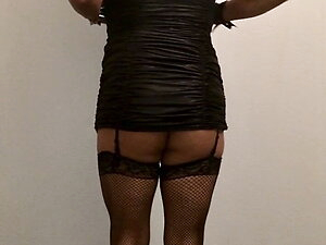 Big Ass Rachelle In Tight Stripper Mini Dress and Stockings
