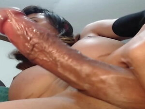 Horny Shemale Jerking Her Dick and Cum
