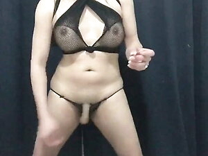 sexy shemale strip tease and cum while smoking
