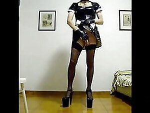 Horny sissy slut maid make a video for her Master