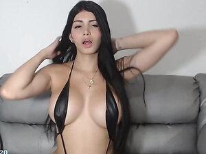 ladyboy tgirl bigtits boobs in bikini gstring long nails