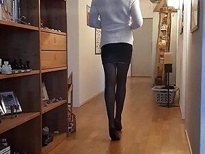 Amazing Crossdresser in High Heel Mules