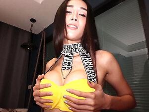 Big tits pretty Asian ladyboy Alice blowjob and anal fucking