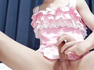 japanese crossdresser masturbating in pinky costume