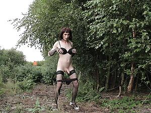 Transgender Cathy posing public