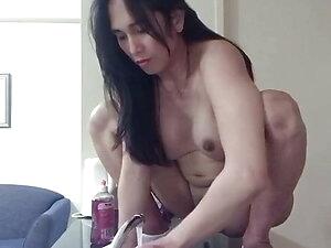 asian ladyboy doing her hot washing dishes while naked