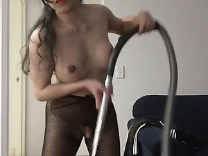 sexy asian shemale doing a house vacum